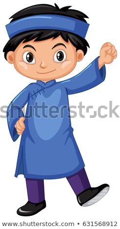 Foto stock: Menino · azul · criança · fundo · arte · criança