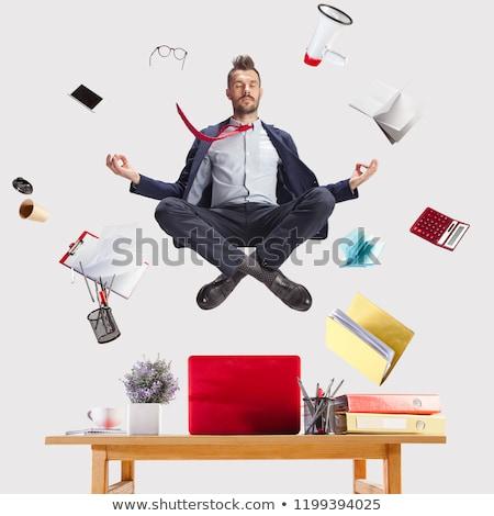 ストックフォト: ビジネスマン · ヨガのポーズ · 白 · eps · 10 · ビジネス