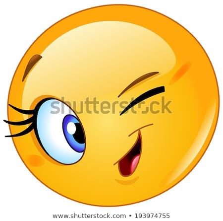 Emoji - winking orange with happy smile. Isolated vector. Stock photo © RAStudio