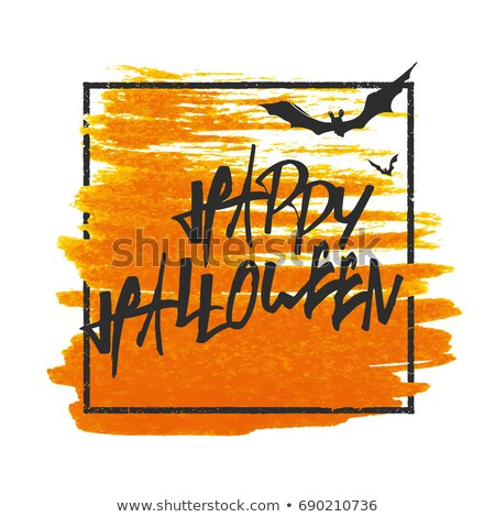 Happy Halloween. Bats on background. Grunge stamped rectangle fr Stock photo © pashabo