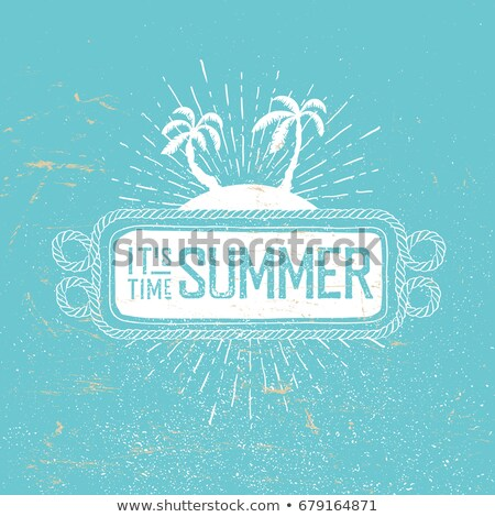 Stock photo: Summer time vector retro postcard. Rope frame, palms and rays on