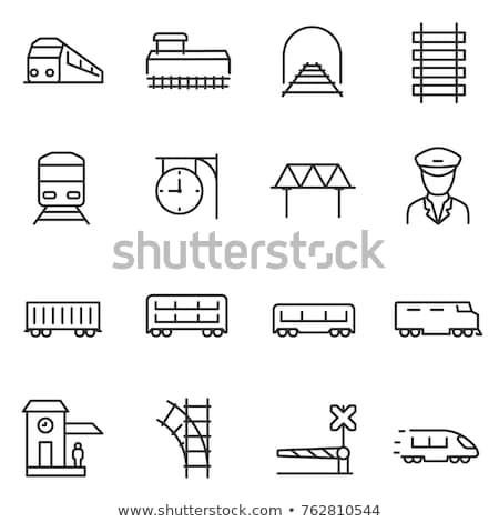 mozdony · vonal · ikon · vektor · izolált · fehér - stock fotó © RAStudio