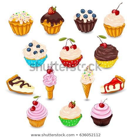 Blueberry tart with ice cream Stock photo © Digifoodstock