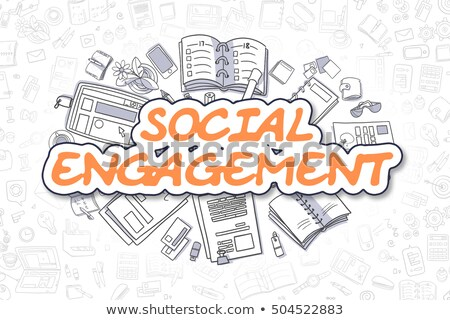 Sociale engagement doodle orange texte affaires Photo stock © tashatuvango