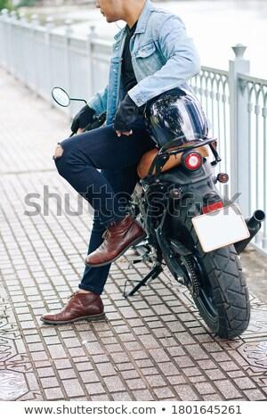 Obraz człowiek nowoczesne motocykl drogowego odkryty Zdjęcia stock © deandrobot