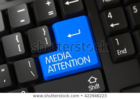 Tastatur blau Taste Medien Aufmerksamkeit Laptop-Tastatur Stock foto © tashatuvango