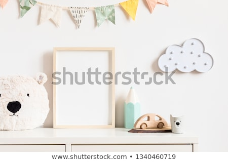 shelf photo frames wooden background stock photo © romvo