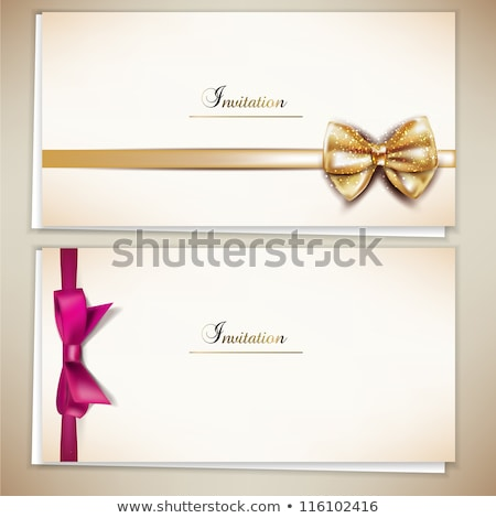 Invitation card with Gold and red holiday bow Stock photo © fresh_5265954