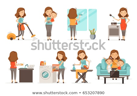 moeder · zoon · wasserij · home · kleur · schoonmaken - stockfoto © is2