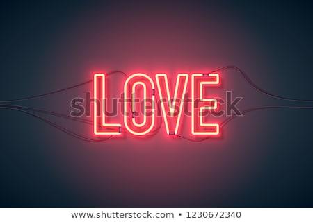Szeretet neonreklám lila gyors könnyű románc Stock fotó © Voysla
