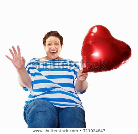 любви · женщину · сердце · шаре · женщина · улыбается - Сток-фото © is2