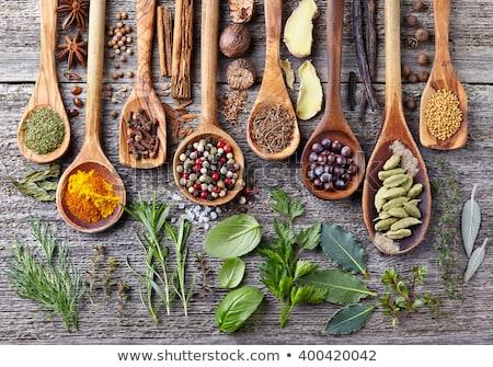 specerijen · kruiden · houten · kom · voedsel · blad - stockfoto © janpietruszka