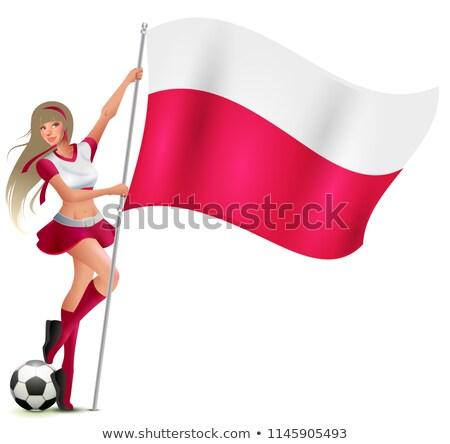 Stok fotoğraf: Kadın · fan · Polonya · bayrak · futbol