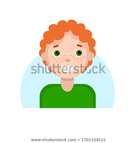 Red boy face. Red-haired child with freckles portrait. Vector il Stock photo © popaukropa