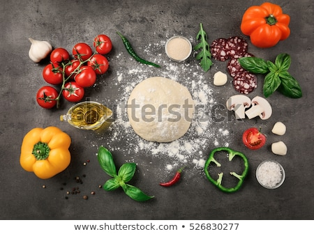 Pizza malzemeler peynir sosis mantar Stok fotoğraf © rogistok