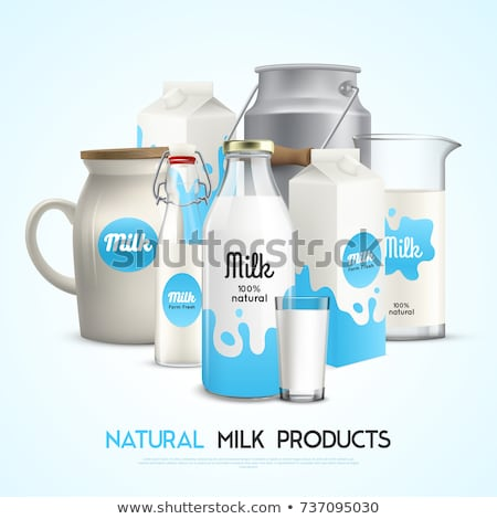 Dairy product in a glass containers of different shapes with milk or yogurt on a black background. Stock photo © artjazz