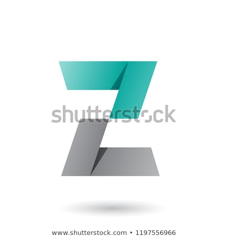 Grey and Green Folded Paper Letter Z Vector Illustration Stock photo © cidepix