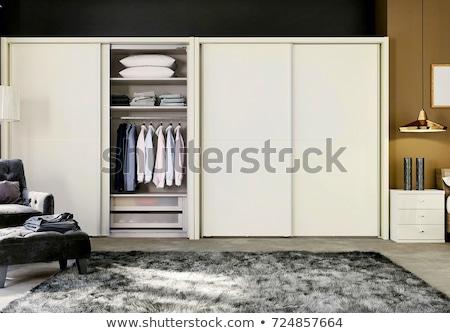 Nagy fehér modern ruhásszekrény luxus ház Stock fotó © iriana88w