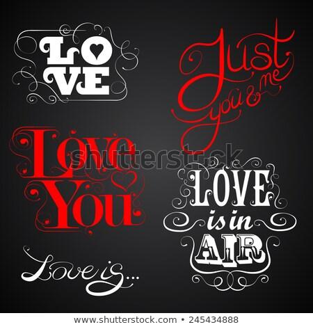 szeretet · levegő · kézzel · rajzolt · üdvözlőlap · design · kézzel · készített · kalligráfia - stock fotó © kollibri