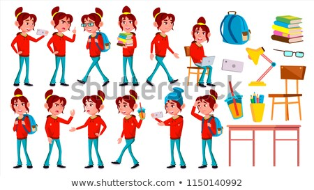 Girl Schoolgirl Kid Poses Set Vector. High School Child. Schoolchild. Funny, Friendship, Happiness E Stock photo © pikepicture