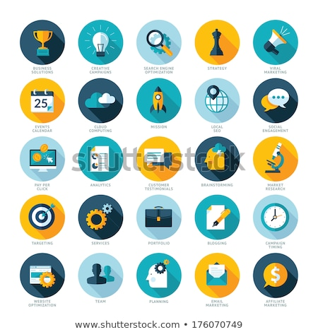 set of flat design icons for business pay per click creative process searching web analysis tim stock photo © makyzz