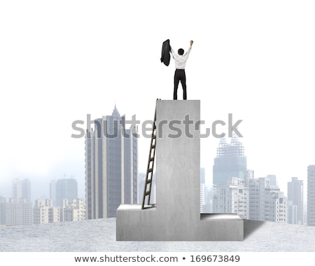 Businessman is on first place. Victory. Boss on pedestal. Office Stock photo © MaryValery