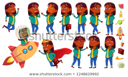 Girl Kid Poses Set Vector. Indian, Hindu. Asian. Primary School Child. Idea, Startup, Solution. Futu Stock photo © pikepicture