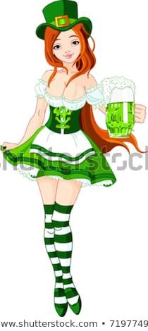Cartoon glimlachend Ierse meisje klaver grafische Stockfoto © cthoman