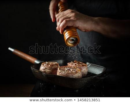 fűszer · hús · só · bors · konyha · kellékek - stock fotó © karandaev
