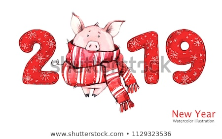 Boldog ünnepek új év szimbólum karácsony kismalac Stock fotó © robuart