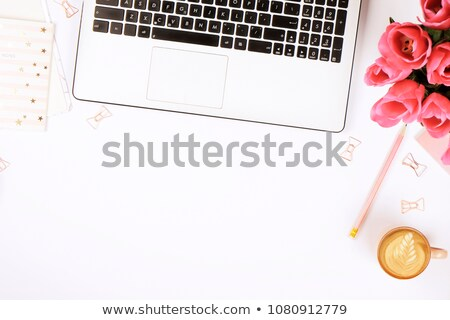 Stockfoto: Vrouw · vrouwelijk · werkruimte · laptop · notebook · boeket