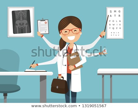 Multitaszking elfoglalt női orvos mosolyog profi Stock fotó © Imaagio