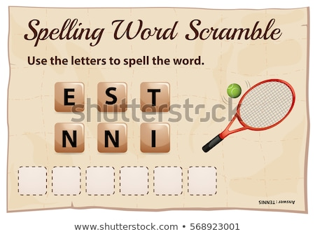 Spelling word scramble game with word tennis stock photo © colematt