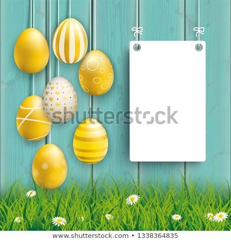 Impiccagione easter eggs ciano legno Foto d'archivio © limbi007