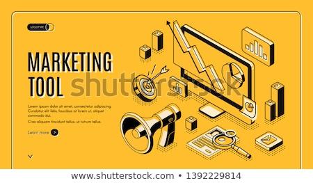 Social media automation tools isometric 3D landing page. Photo stock © RAStudio