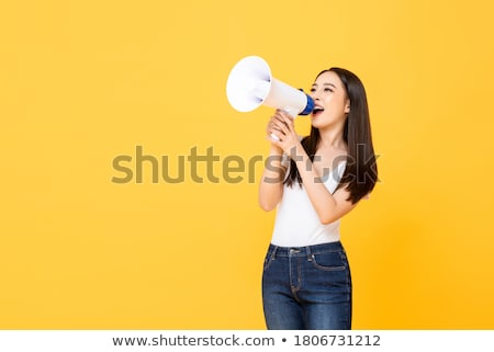 What. woman with megaphone advertising announcement Stock photo © rogistok