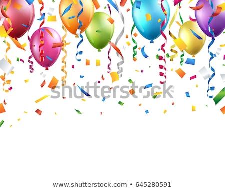 glanzend · gouden · ballonnen · confetti · poster · vector - stockfoto © pikepicture