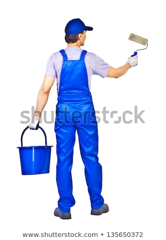 senior painter man at work with a paint bucket wall painting co stock photo © lightpoet