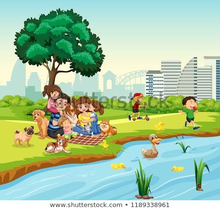 Familia picnic pato estanque ilustración agua Foto stock © colematt