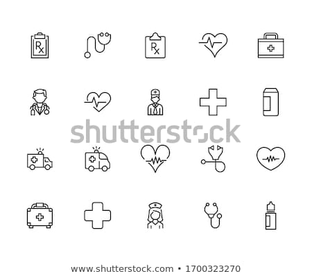 Stethoscope with cross icon. Clinic and Cardiology pictogram, flat vector sign isolated on white bac stock photo © kyryloff