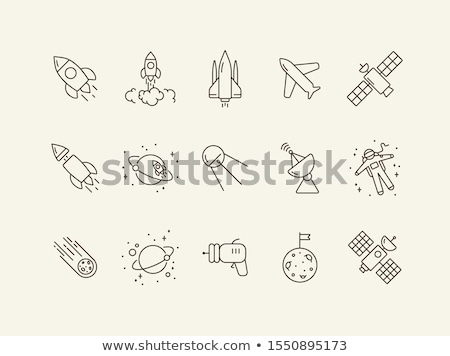 Stock photo: Digital vector line icons set space and rockets