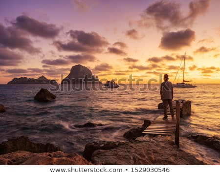 ibiza cala d hort with es vedra islet sunset stock photo © lunamarina