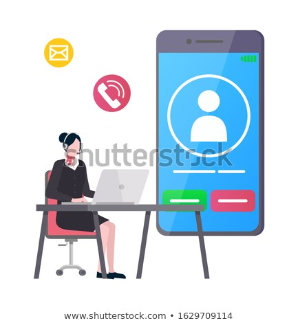 Woman Using Laptop With Incoming Call On Display Stock photo © AndreyPopov