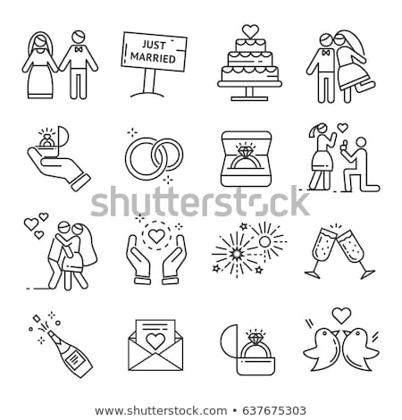 Celebration Wedding Cake Thin Line Vector Icon Stock photo © pikepicture
