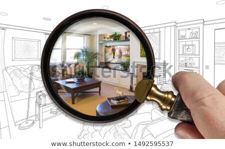 Hand vergrootglas afgewerkt woonkamer tekening Stockfoto © feverpitch