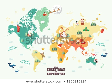 reindeer with a world map stock photo © liolle
