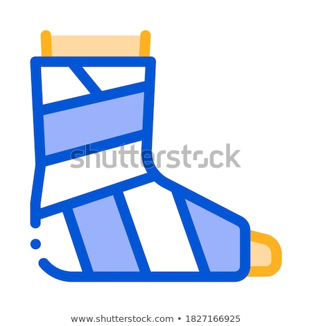 Foto stock: Leg Foot Gipsum Bandage Orthopedic Vector Icon