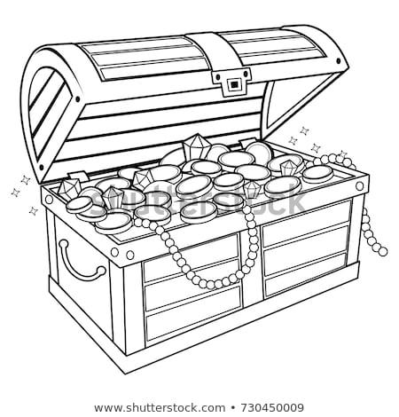Kincsesláda kalóz érmék szín vektor antik Stock fotó © pikepicture