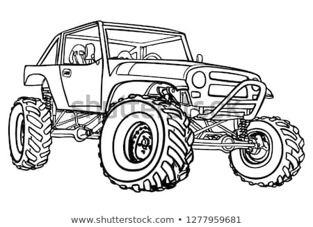 4x4 Off Road Black and White Cartoon Isolated Vector Illustration Stock photo © jeff_hobrath