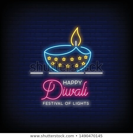 happy diwali creative background in neon style Stock photo © SArts